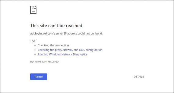 AOL Mail login error screenshot