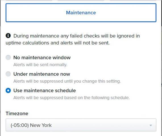 uptime.com maintenance screenshot