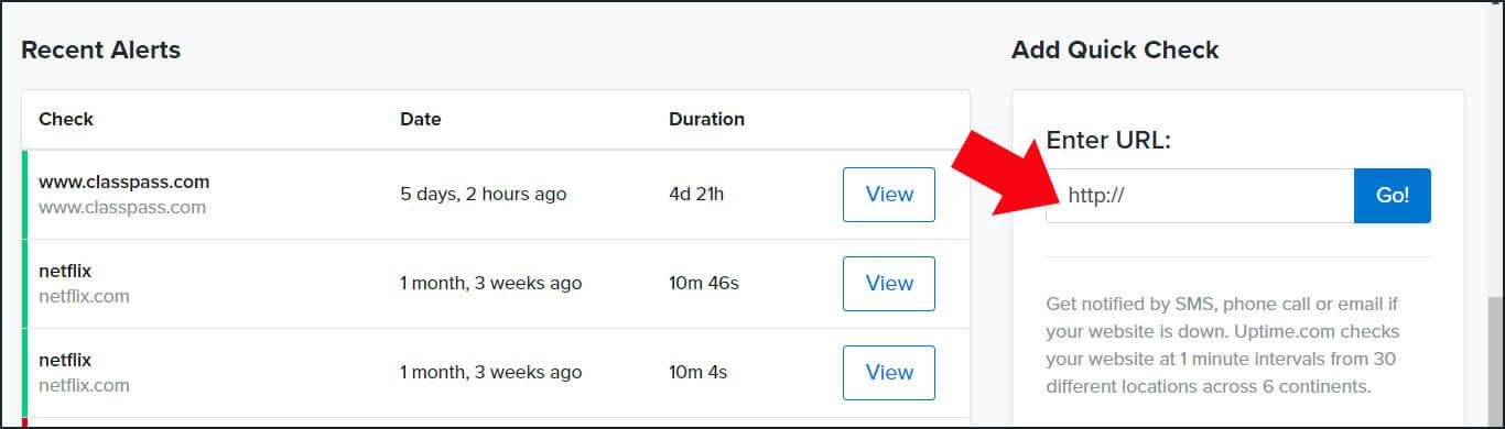 Uptime.com screenshot Add Quick Check