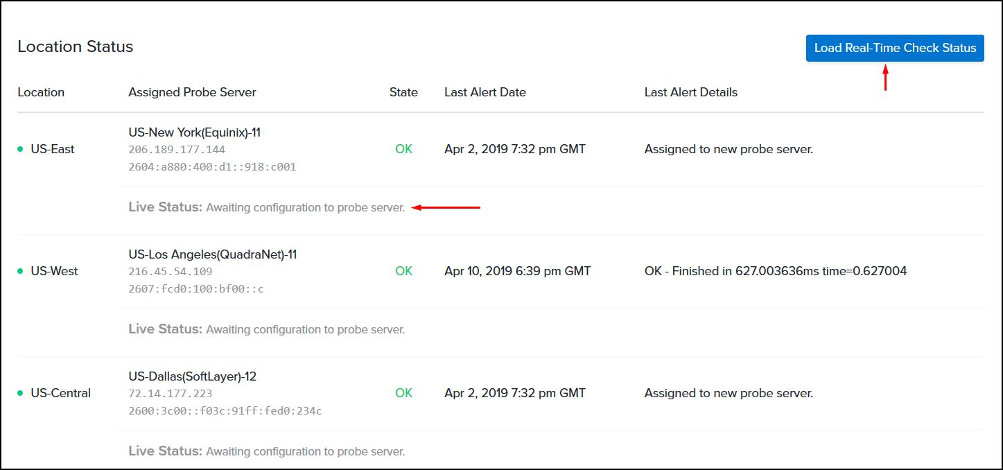 real time analysis status button