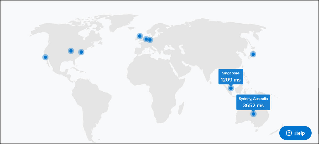 Global Uptime screenshot world map