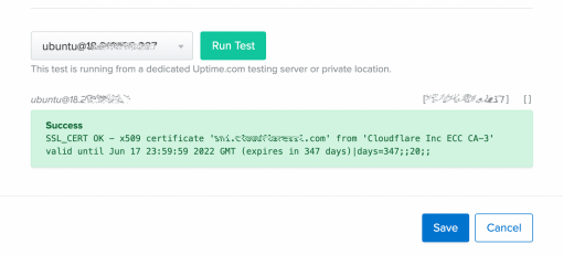 Run test check output with private locations